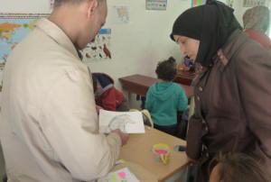 rencontre avec une institutrice de l'école d'Azraq (printemps 2015)
