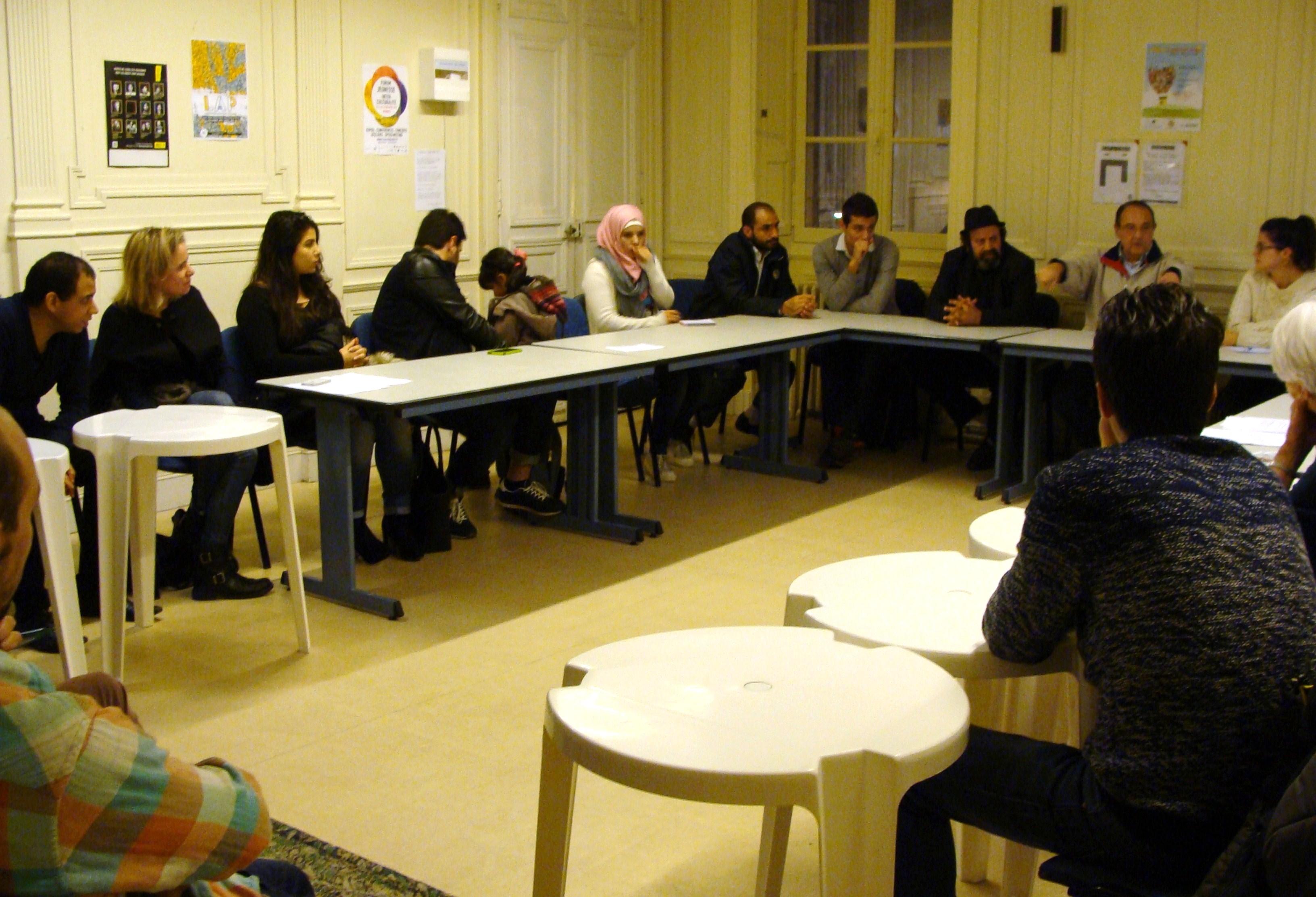 Réunion de lancement de cours de français avec les réfugiés syriens