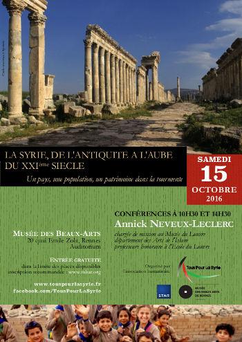 Conférence « La Syrie, de l'Antiquité à l'aube du XXIe siècle » le samedi 15 octobre 2016 par Annick Neveux-Leclerc