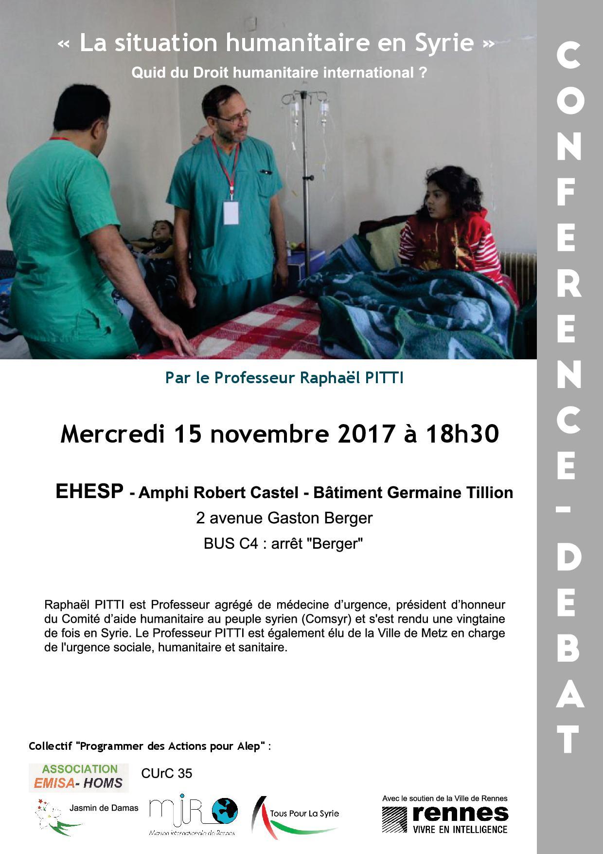 Conférence-débat « La situation humanitaire en Syrie », le mercredi 15 novembre 2017