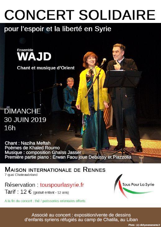 L'ensemble WAJD en concert à Rennes le 30 juin 2019 pour soutenir les réfugiés syriens.
