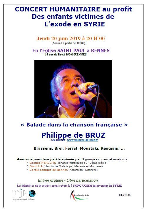 Concert humanitaire le 20 juin à Rennes au profit des enfants d'Idleb