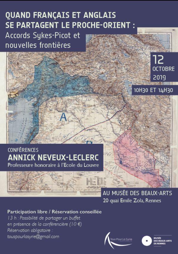 Conférence sur les accords de Sykes-Picot : quand Français et Anglais se partageaient le Proche Orient, le samedi 12 octobre 2019